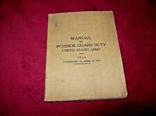Vintage WW I 1914/1917 Book for Interior Guard Duty, US Army, Hardcover.