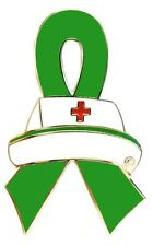 Green Ribbon Nurse Cap Pin Awareness Medical Lapel Tac Tack Cancer Cause New