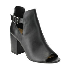 BAMBOO EE33 Women's Buckle Cut Out Sides High Block Heel Ankle Bootie