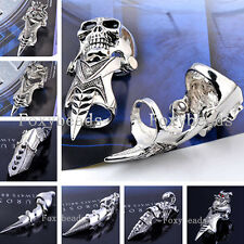 HOT Cool Mens Silver Spike Armor Knuckle Full Finger Double Ring Rock Gothic FB
