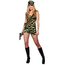 Ladies Bootcamp Babe Costume for Military Army Soldiers Fancy Dress Womens