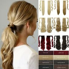 100% Natural Clip In Human Remy Hair Extensions Pony Tail Wrap On Ponytail Mmk