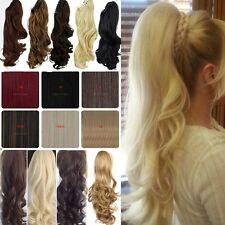 """18-21"""" Top A+ Jaw Claw On Ponytail Clip In Hair Extensions Thick As Human Tlk"""