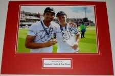JOE ROOT& ALASTAIR COOK ENGLAND CRICKET PERSONALLY SIGNED AUTOGRAPH PHOTO MOUNT