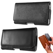 BLACK LEATHER HORIZONTAL HOLSTER POUCH BELT CLIP CASE for Various Cell Phone NEW
