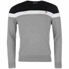 Soviet Mens Panel Knit Jumper Ribbed Blouse Pullover Long Sleeve Crew Neck Top