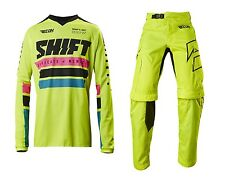 SHIFT MX MENS ADULT FLO YELLOW RACE GEAR COMBO RECON PHOENIX JERSEY OTB PANTS