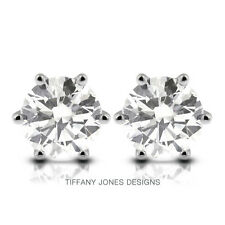 1.62 CTW G-SI1 Ideal Round Natural Diamonds 14k 6-Prong Solitaire Earrings 1.45g