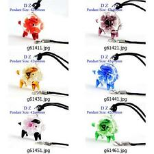g614m74 Women Cute Pig Flower Bead Murano Lampwork Glass Pendant Necklace Pick