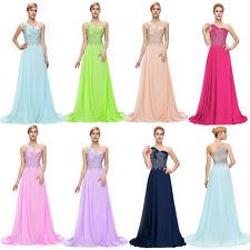 Formal Long Wedding Sexy One shoulder Chiffon Ball Gown Evening Prom Party Dress
