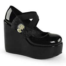 Demonia POISON-02 Women's Elastic Bands Side Bow Skull Lady Cameo Wedge Pumps