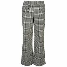 Mystify Womens High Waisted Check Trousers Houndstooth Pants Casual Bottoms
