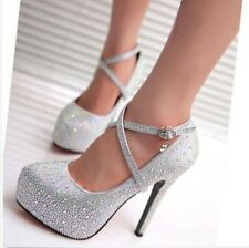 New Womens Sexy Ankle Strap Stiletto High Heel Platform Court Bridal Shoes Pumps