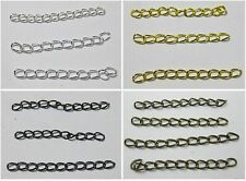 100 Metal Extension Jewelry Chains/Tail Extender Pick u color Silver Gold Bronze
