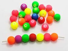 """100 Matte Fluorescent Neon Beads Acrylic Round Beads 12mm(1/2"""") Pick Your Color"""