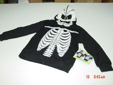 NWT Boys Costume Hoodie Hooded Sweatshirt Zippered Black Skeleton Halloween