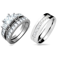 3 PCS Stainless Steel Hers Princess Cut CZ Wedding Ring/His 9 Round CZs Band
