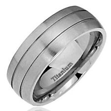 8mm Comfort Fit Dome Satin Top Duo Groove Titanium Ring Men's Wedding Band