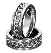 7mm New Titanium Ring Jewelry Steel Chain Inlay Wedding/Engagement Band