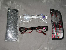 Swarovski Crystal Jeweled Silver Red Reading Glasses +3.50 Matching Case NEW!