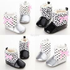Fancy Baby Girls Soft Soled Warm Snow Boot Leopard Dot Bow PU Padded Shoes