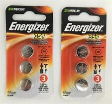 NEW! (Two 3 Pks) Total of 6 Energizer WATCH BATTERIES 357 - Silver Oxide