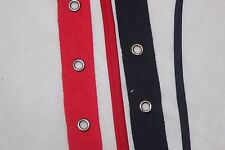 """1 yard Navy Red twill cotton grommet eyelet tape trim silver grommets 3/4"""" Cord"""