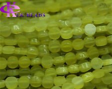 Wholesale Natural Korea Olive Jade Flat Coin Disc Loose Small Beads 4mm-14mm
