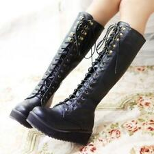 Flat Heel Knee High Boots Buckle Punk Goth Platform Lace Up Women Creeper Shoes