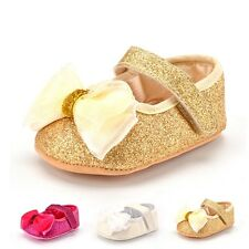 Bling Bling Baby Girl Crib Shoes Size Newborn to 18Months Ballet Flats with Bow