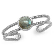 Labradorite Gold Plated 925 Sterling Silver Rope Solitaire Adj. Ring