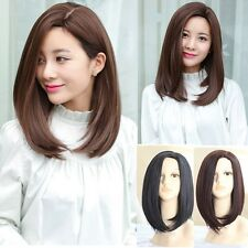 Lady Medium Long Straight Side Bangs Hair Daily Costume Heat Resistant Full Wig
