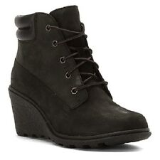 """Timberland 8253A Womens Amston 6"""" Inch Wedge Heels Earthkeepers Size Black Boots"""