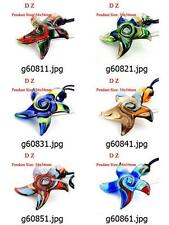 g608m32 Handmade Starfish Bead Murano Art Lampwork Glass Pendant Cord Necklace