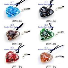 g615m81 Lady Love Heart Dichroic Murano Lampwork Glass Handmade Pendant Necklace