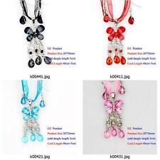 k004q33 Butterfly Gemstone Rhinestone Dangle Necklace Pendant Earring Sets