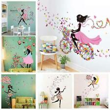 Removable Girl Flower Wall Decal Stickers Vinyl Mural Art Home Room Decor uf