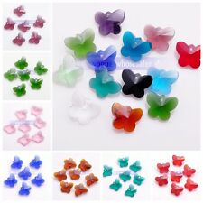 New 8pcs Butterfly Shaped Faceted Crystal Glass Findings Loose Bead Pendants DIY