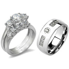 His & Hers Couple Stainless Steel Womens Wedding Set Mens 7 Round CZs Band