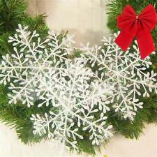 30 Pcs Xmas Gift Christmas Tree Decoration White Snowflake Plastic Dinner Party