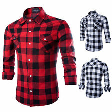 Mens Long Sleeve Casual Check Print Smart Cotton Work Flannel Plaid Shirt Top CA