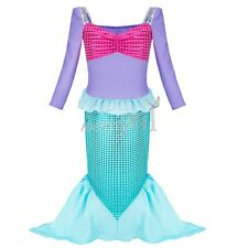 Halloween Xmas Kids Girl Little Mermaid Princess Cospaly Dress Up Costume 3-12