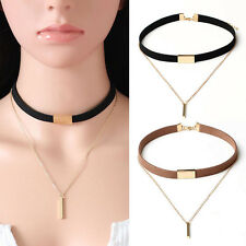 Women Fashion Velvet Choker Necklace Pendant Chain Of Gold Bar Chocker Jewelry
