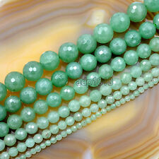 Faceted Natural Aventurine Gemstone Round Loose Beads 15.5'' 4,6,8,10,12,14mm