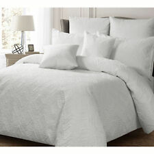 Ashton WHITE Quilt Doona Duvet Cover Set - SINGLE DOUBLE QUEEN KING Super King