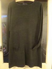 """M & S COLLECTION LONG SLEEVED FINE KNIT CHARCOAL DRESS / TUNIC SIZE 16 - 36""""LONG"""