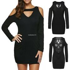 Sexy Women's Ladies Off-shoulder Backless Bodycon Mini Dress Back Hollow V-neck