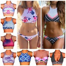 Sexy Women High Neck Push-up Bra Bikini Set Crop Top Swimsuit Swimwear Bather FO