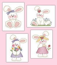 Woodland Bunny Rabbit Wall Art Prints or Decals Forest Animals Baby Girl Nursery