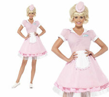 50's Diner Girl Ladies Waitress Fancy Dress 1950s Waiter Outfit Sizes 4-18